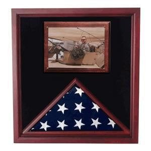 Army Air Corps Flag shadow case, Flag Frame with photo display.