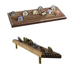 Coin Display Rack Made In USA Military 6 Row Tiered with Gun Shells, Holds up to 36 Coins