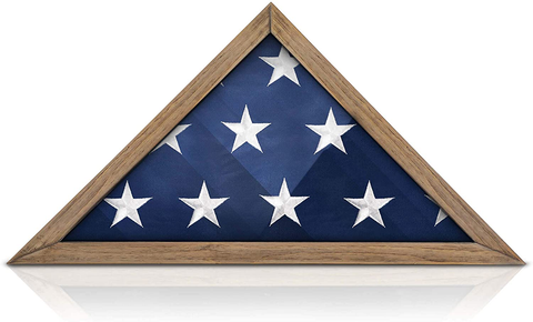 SOLID WOOD Military Flag Display Case for 9.5 x 5 American Veteran Burial Flag, Wall Mounted Burial Flag Frame