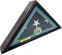 5x9 Burial/Funeral/Veteran Flag Elegant Display Case, Solid Wood, Cherry Finish, Flat Base (5x9, Air Force)