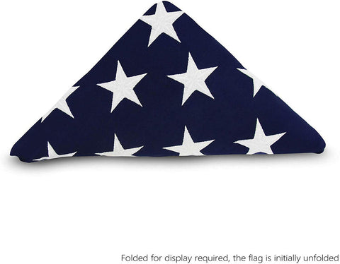 PRE-Folded Premium US Burial Flag, 5' x 9.5' with Fully Embroidered Stars and Sewn Stripes