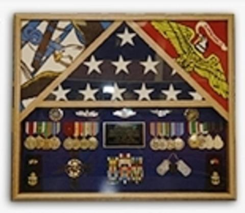 3 Flags Military Shadow Box, flag case for 3 flags.