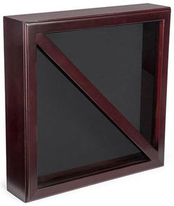 Flag Connections Flag Display Case, Tempered Glass, Pine Wood, Felt Construction – Mahogany Finish