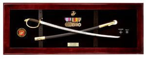USMC NCO Sword Display Case, Sword Cases, Marine Sword frame Mahogany finish