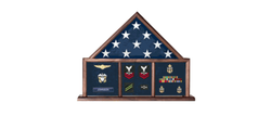 Memorial Flag Case, Three Bay shadow box perfect size case for a your mantle, holds 3'x5' flag a ample amount of memorabilia.