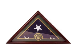 Army Flag Display Case Box, 5x9 Burial - Funeral - Veteran Flag Elegant Display Case with Flat Base, Solid Wood, Cherry Finish.
