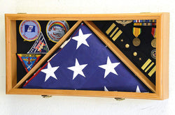 Large Flag & Medals Military Pins Patches Insignia Holds up to 5x9 Flag Display Case Frame Cabinet Shadowbox (Oak Finish).
