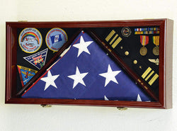 Large Flag & Medals Military Pins Patches Insignia Holds up to 5x9 Flag Display Case Frame Cabinet Shadowbox (Cherry Finish).