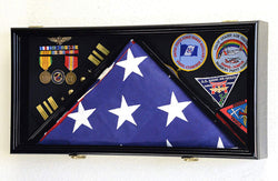 Large Flag & Medals Military Pins Patches Insignia Holds up to 5x9 Flag Display Case Frame Cabinet Shadowbox (Black Finish) .