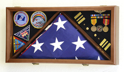 Large Flag & Medals Military Pins Patches Insignia Holds up to 5x9 Flag (Walnut Finish)