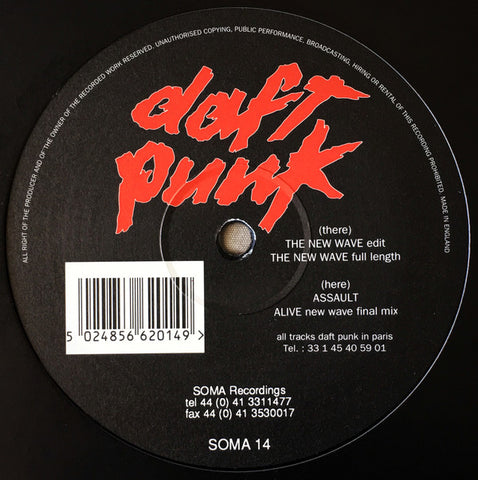 "DAFT PUNK : "" THE NEW WAVE E.P "" (1994) 12 INCH SOMA RECORDS"
