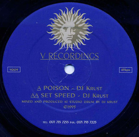 "DJ KRUST : "" POISON "" / "" SET SPEED "" (1995) 12 INCH V RECORDINGS"