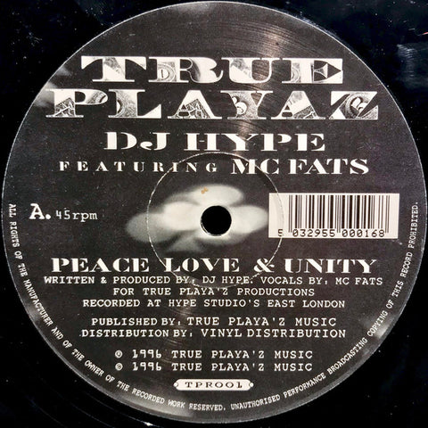 "DJ HYPE : "" PEACE LOVE & UNITY "" / "" AND REMEMBER FOLKS "" (1996) 12 INCH"