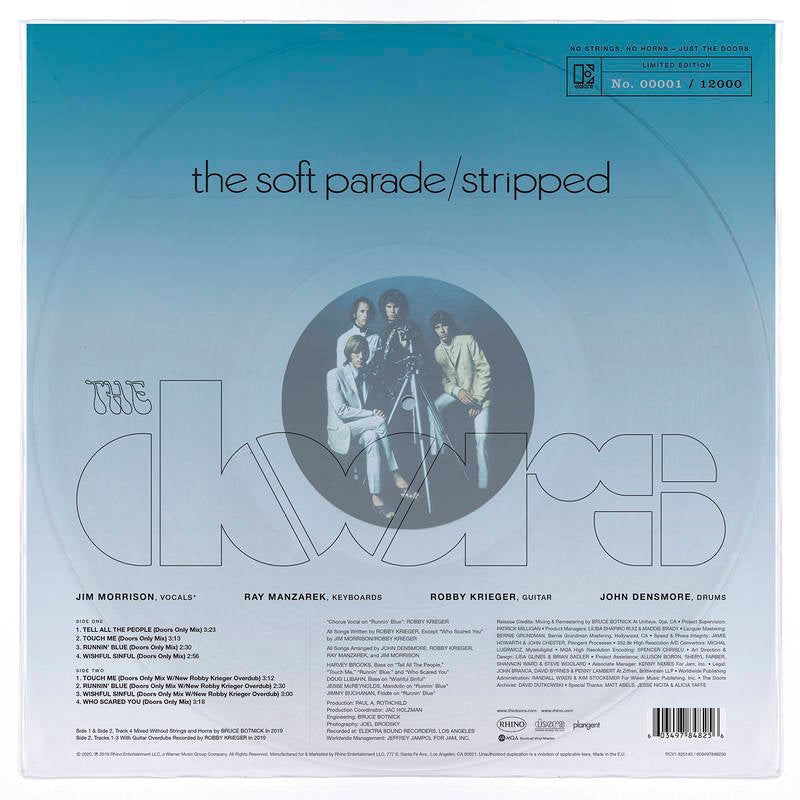"DOORS , THE : "" THE SOFT PARADE / STRIPPED "" - RSD SEPTEMBER 26TH 2020 (2020) LP 12,000 WORLDWIDE"
