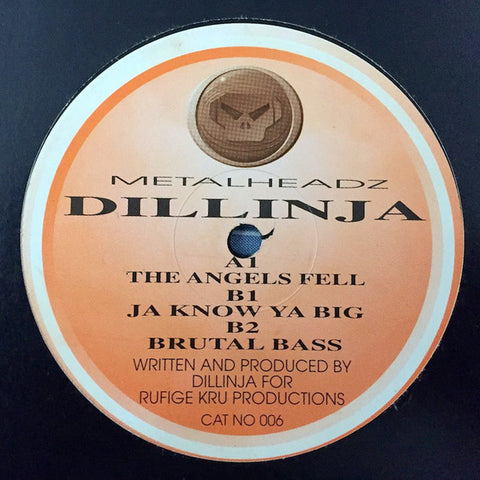"DILLINJA : "" THE ANGELS FELL "" /  "" JA KNOW YA BIG "" /  "" BRUTAL BASS "" (1995) 12INCH ( NEAR MINT ) MOVING SHADOW"