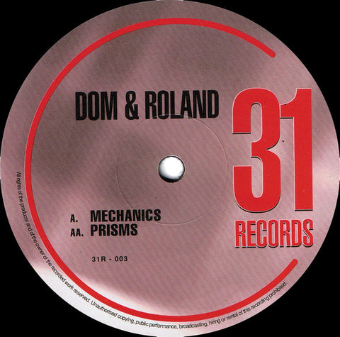 "DOM & ROLAND : "" MECHANICS "" /  "" PRISMS "" (1997) 12INCH ( NEAR MINT )"