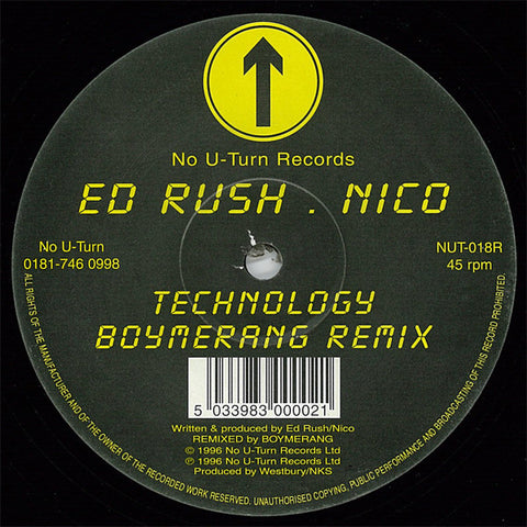 "ED RUSH & NICO : "" TECHNOLOGY  "" SINGLE SIDED ETCHED VERY LIMITED EDITION (1996) 12 INCH ( NEAR MINT ) JUNGLE"