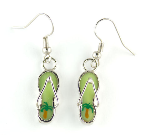 Jewelry- 'Flip Flop' Earrings, Lime Green