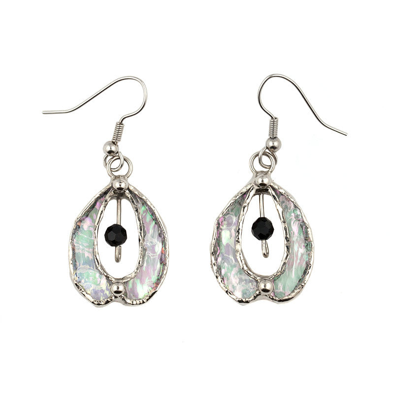 Jewelry- Clear Iridized Swirl Earrings