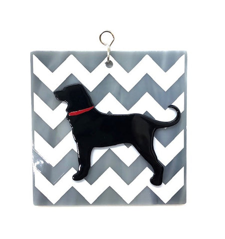 Glass Cover- Dog, Black Lab (Grey or Blue)