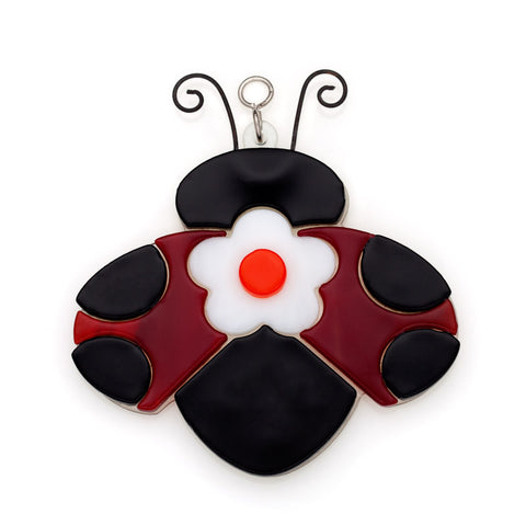 Glass Cover- Ladybug with Flower