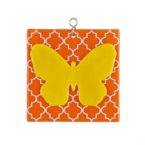 Glass Cover- Yellow/Orange Butterfly