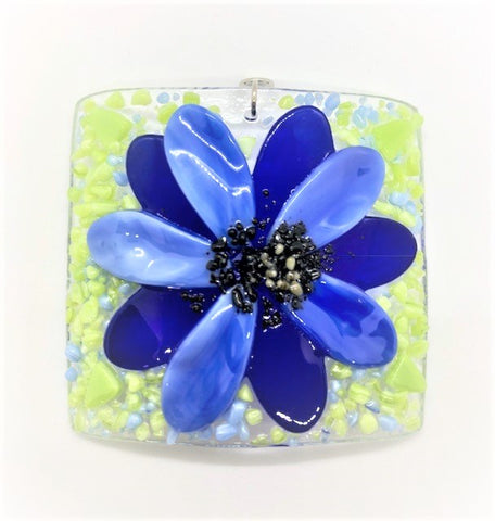 Glass Cover- Blue Fused Flower