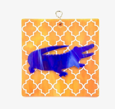 Glass Cover- Orange & Blue Gator