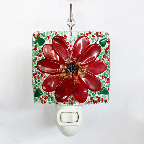 Glass Cover- Poinsettia Flower