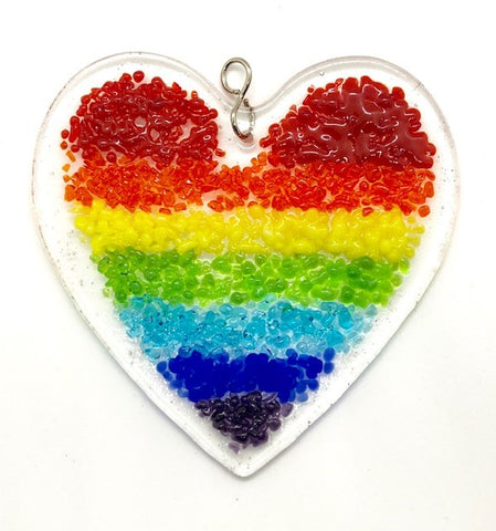 Glass Cover- Rainbow Heart