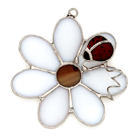 Glass Cover- Daisy Flower with Ladybug