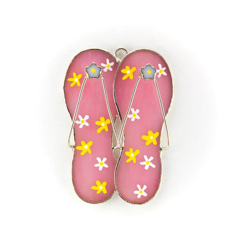 Glass Cover- Flower Flip Flops