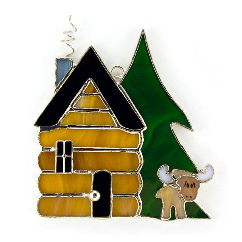 Glass Cover- Log Cabin with Moose