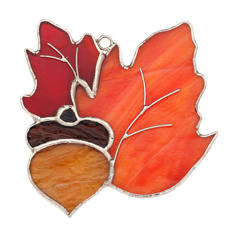 Glass Cover- Oak Leaves with Acorn