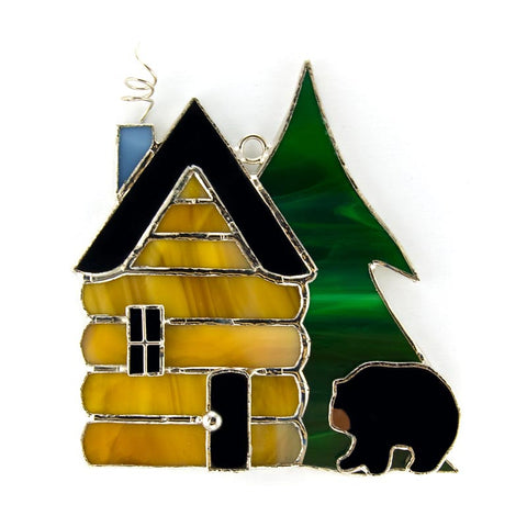 Glass Cover- Log Cabin with Black Bear