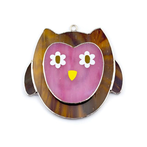 Glass Cover- Pink Owl