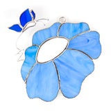 Glass Cover- Flower with Blue Butterfly