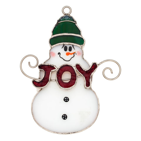 "Glass Cover- Snowman ""Joy"""