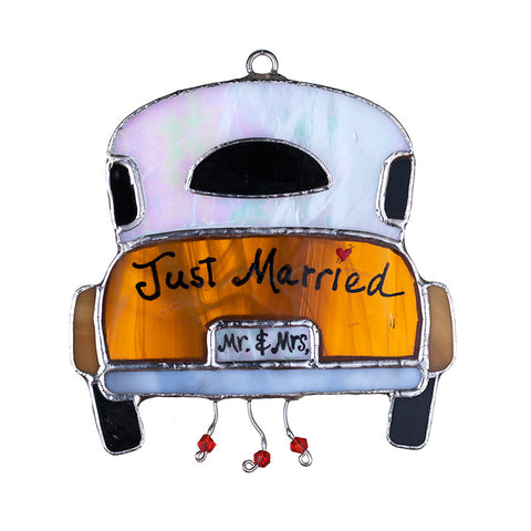 Glass Cover- Wedding Car 'Just Married'