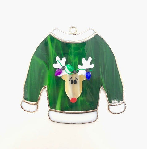 Glass Cover- Reindeer Holiday Sweater with Lights