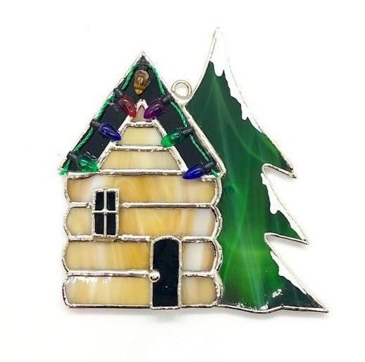 "Glass Cover- Log Cabin ""Christmas"""