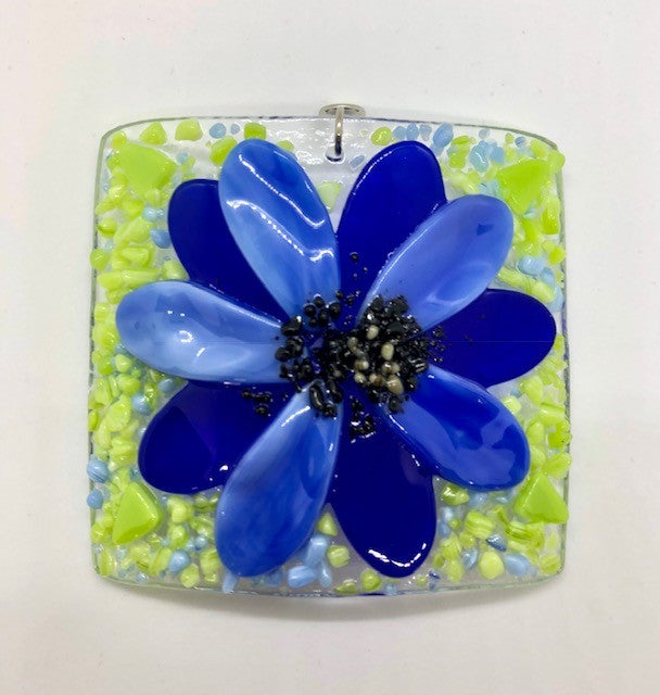 Glass Cover- Blue Flower
