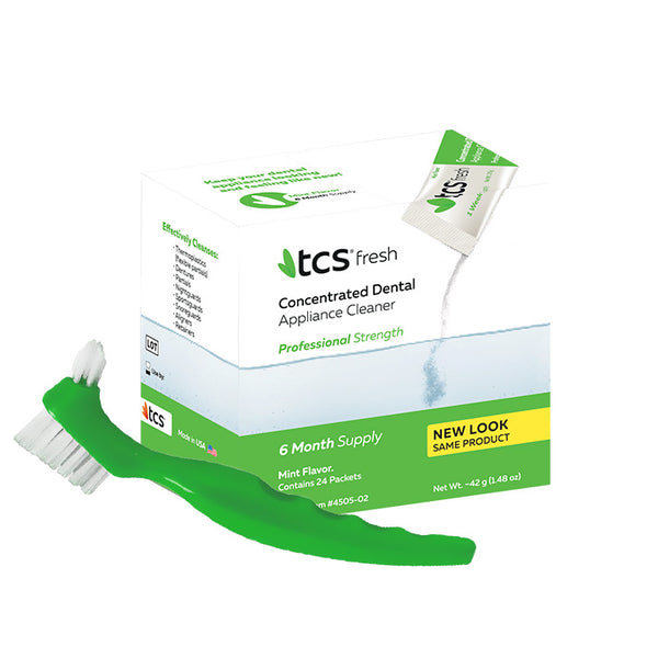 TCS Concentrated Dental Appliance Cleaner + TCS Dental Appliance Brush