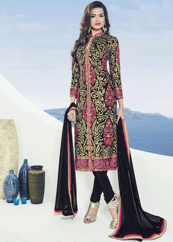 BLACK GEORGETTE SALWAR KAMEEZ - Embroidered Salwar Suit