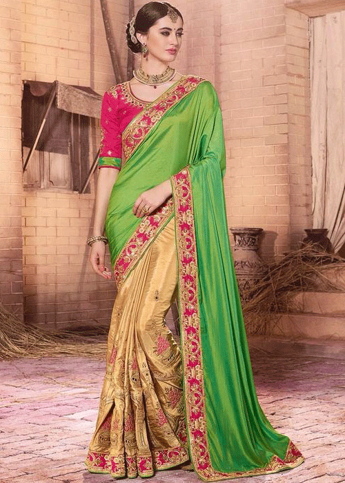 BEIGE & GREEN PURE GEORGETTE SATIN JACQUARD SAREE