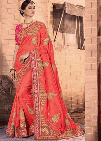 ORANGE PURE GEORGETTE SATIN JACQUARD SAREE
