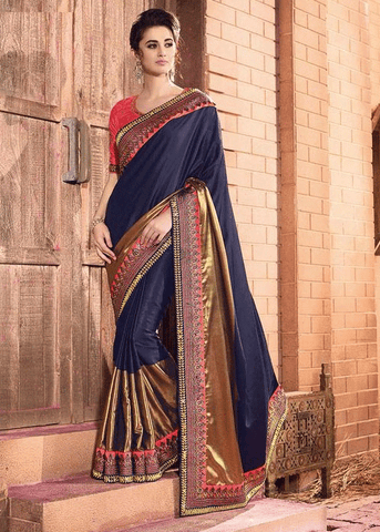BLUE PURE GEORGETTE SATIN JACQUARD SAREE