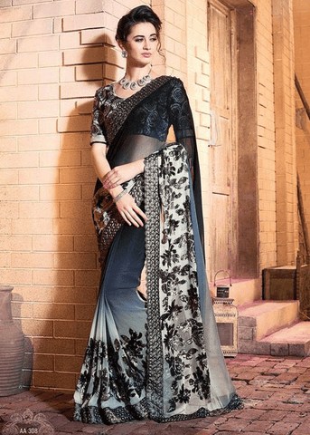 BLACK PURE GEORGETTE SATIN JACQUARD SAREE - ELEGNAT SARIS FOR WOMEN