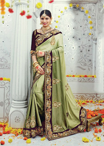PISTA GREEN PURE SATIN SILK DESIGNER SAREE