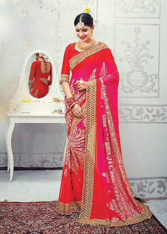 RED & PINK PURE GEORGETTE DESIGNER SAREE